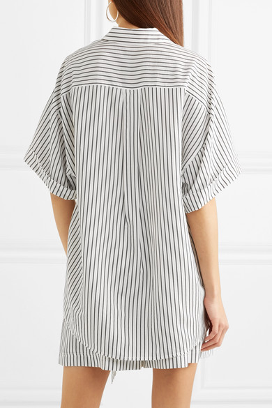 Jason Wu Gray Striped Oversized-shirt From Popeline