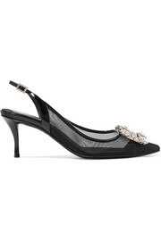 Flower crystal-embellished mesh and patent-leather slingback pumps
