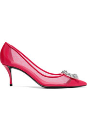 Roger Vivier Flower crystal-embellished mesh and patent-leather pumps