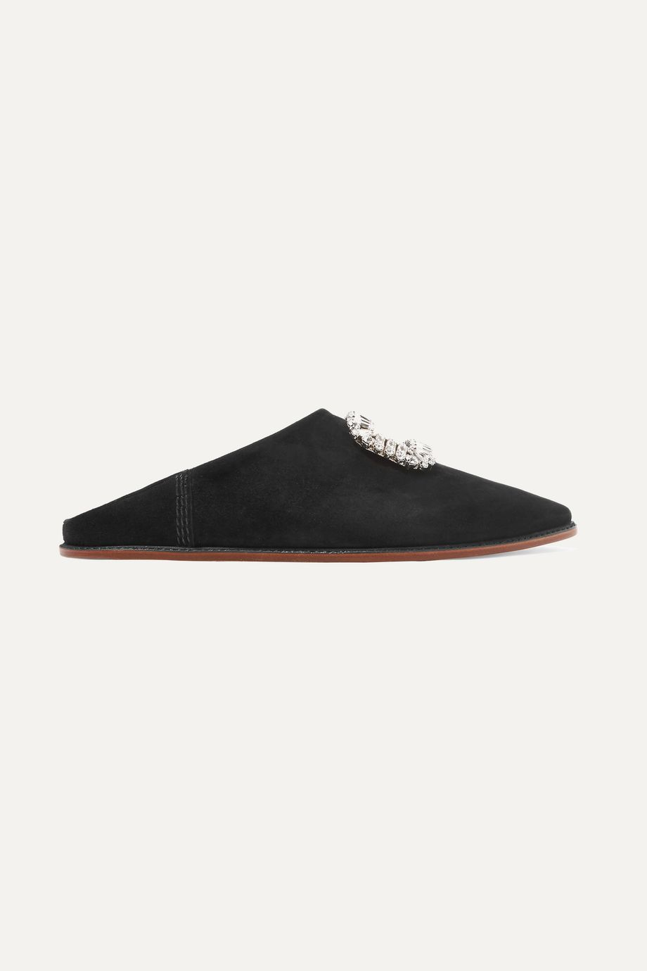 Roger Vivier Bab' Viv crystal-embellished collapsible-heel suede slippers
