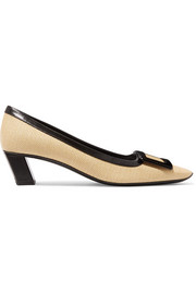 Belle Vivier leather-trimmed woven straw pumps