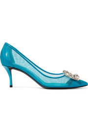 Flower crystal-embellished mesh and patent-leather pumps