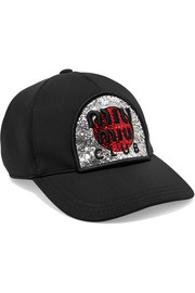 Miu Miu Embroidered glittered neoprene cap