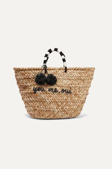 Straw Pom Pom Bag