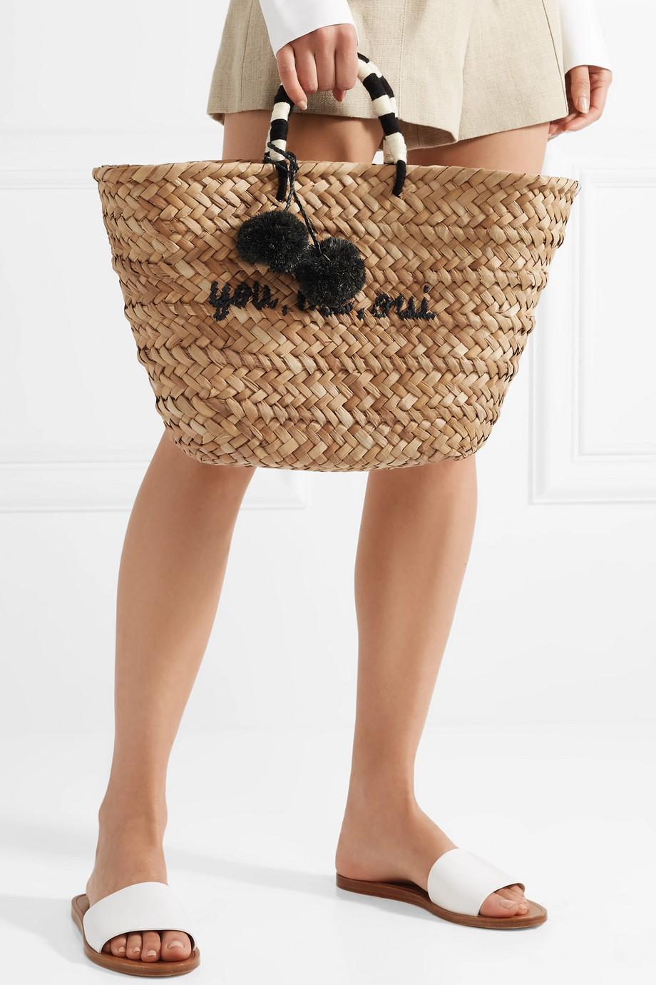 Kayu St Tropez 绒球缀饰编织草手提包
