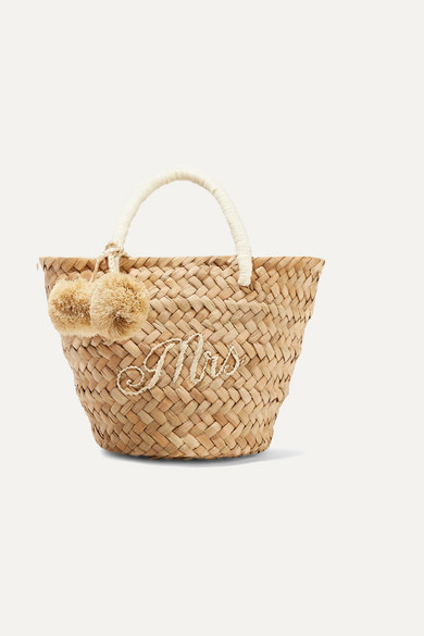 Kayu - St Tropez Mini Pompom-embellished Embroidered Woven Straw Tote - Sand