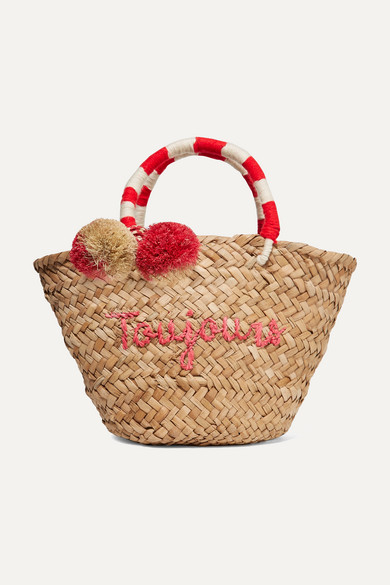 Kayu - St Tropez Mini Pompom-embellished Embroidered Woven Straw Tote