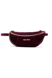 Convertible matelassé velvet belt bag