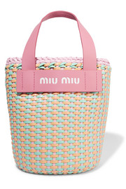 Leather-trimmed faux leather woven tote