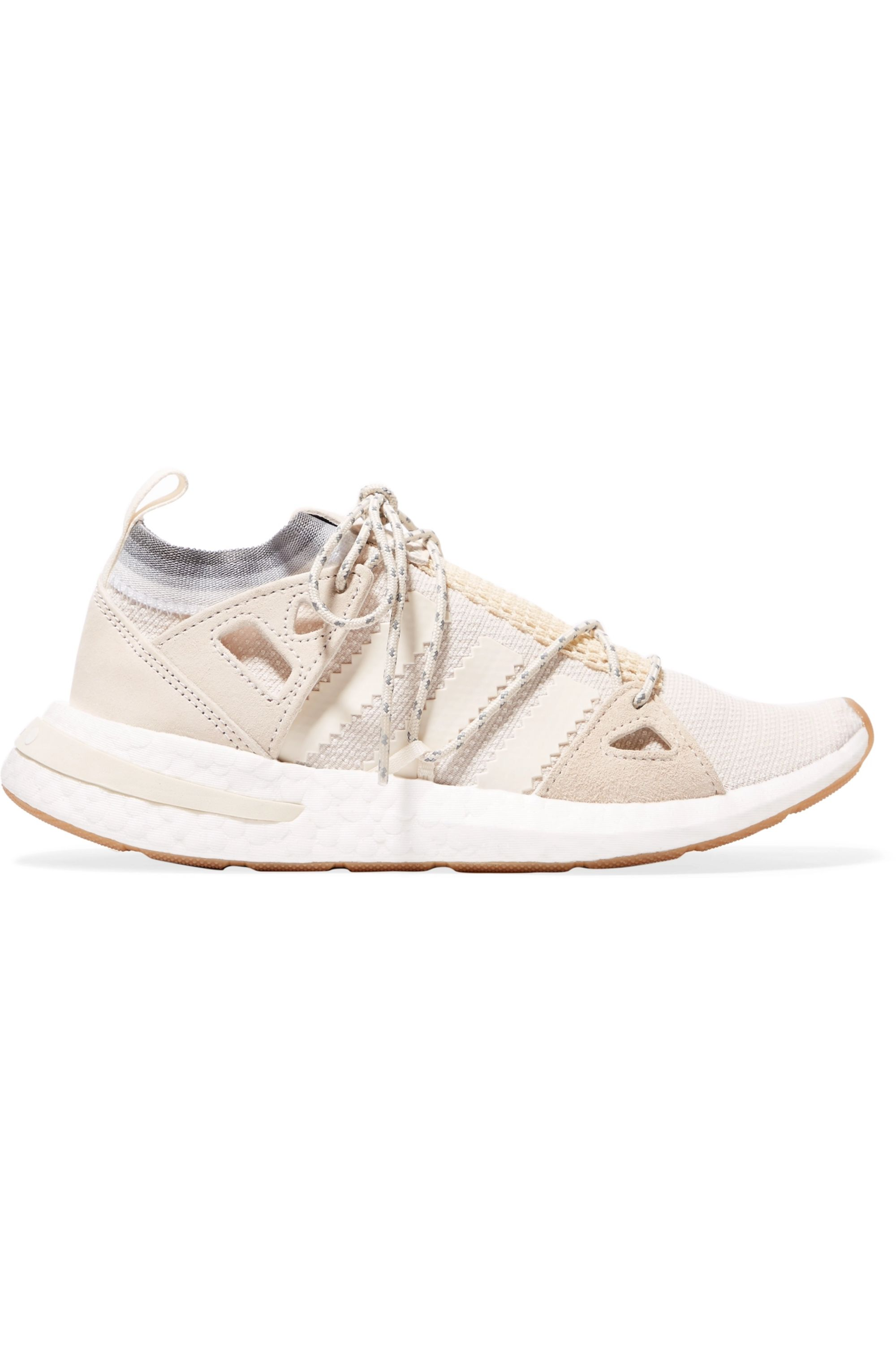 White Arkyn suede-trimmed mesh sneakers