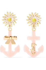 Miu Miu Gold-tone, Plexiglas® and enamel clip earrings