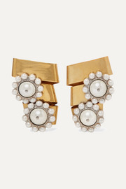 Miu Miu Gold-plated crystal and faux pearl clip earrings