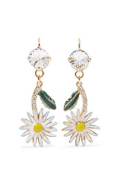 Miu Miu Gold-tone, crystal and enamel earrings
