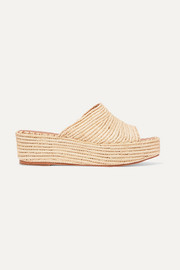 Karim woven faux raffia wedge sandals