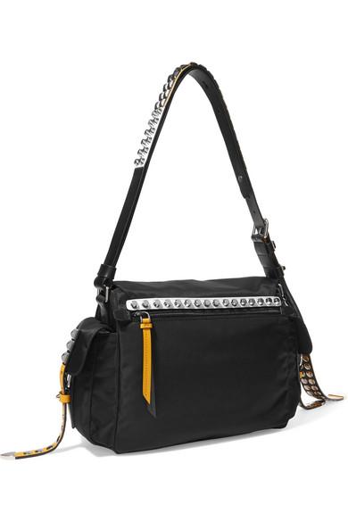 bc34f68b9ba3 Prada | New Vela studded leather-trimmed shell shoulder bag | NET-A ...