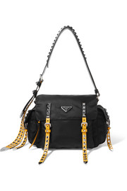 New Vela studded leather-trimmed shell shoulder bag