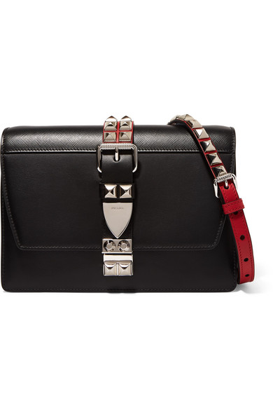 04a2ea542 Prada | Studded leather shoulder bag | NET-A-PORTER.COM