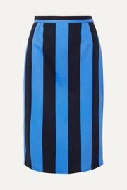 Striped denim midi skirt
