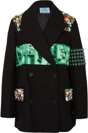Embellished printed cotton-twill blazer