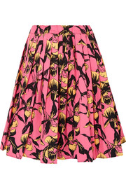 Prada Pleated floral-print cotton-canvas skirt