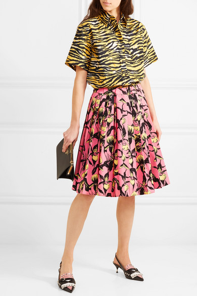 Pleated Floral-print Cotton-canvas Skirt - Pink Prada Professional Cheap Sale With Credit Card gJjsLUn
