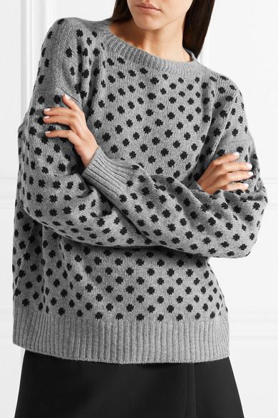 Prada Pullover aus einer Woll-Kaschmirmischung mit Polka-Dots und Intarsienmuster