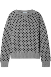 Polka-dot intarsia wool and cashmere-blend sweater