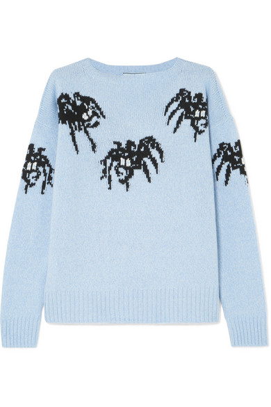 SPIDER INTARSIA KNIT WOOL-CASHMERE SWEATER