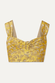 Cropped metallic brocade top