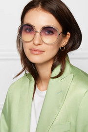 Oversized round-frame gold-tone sunglasses