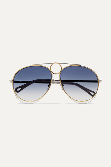 2961af8374e ChloÉ Aviator-Style Gold And Silver-Tone Sunglasses