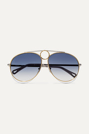Aviator-style gold and silver-tone sunglasses