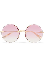 Scalloped round-frame gold-tone sunglasses
