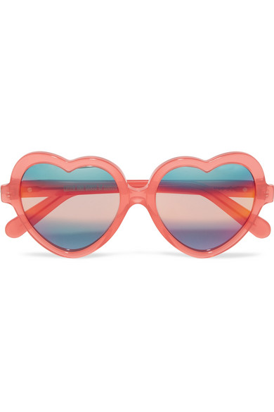 Cutler and Gross - Heart-frame Acetate Mirrored Sunglasses - Coral