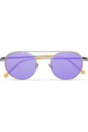Cutler and Gross Round-frame silver-tone mirrored sunglasses