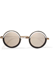 Cutler and Gross Round-frame acetate and gold-tone mirrored sunglasses