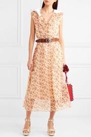 Miu MiuBow-embellished printed cotton-organza midi dress