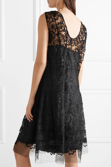 Embroidered Cotton-blend Lace Dress - Black Miu Miu Cheap Pre Order f7i7LQyAb
