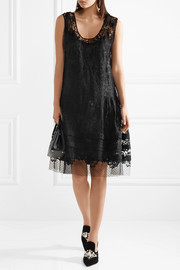 Embroidered cotton-blend lace dress