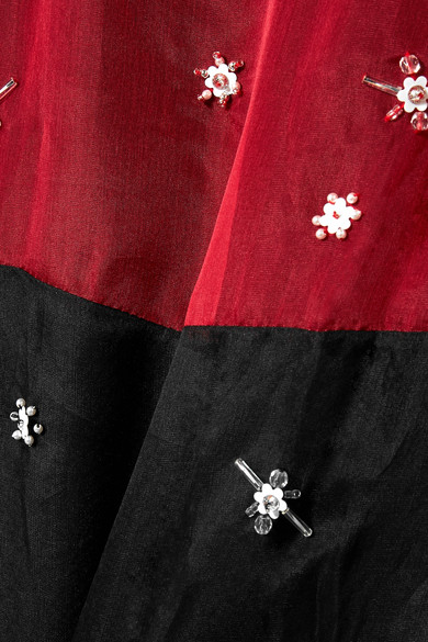 Miu Miu Zweifarbiges Kleid aus verziertem Seidenorganza