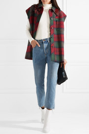 Leather-trimmed plaid wool-blend felt gilet
