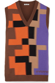 Color-block intarsia wool top