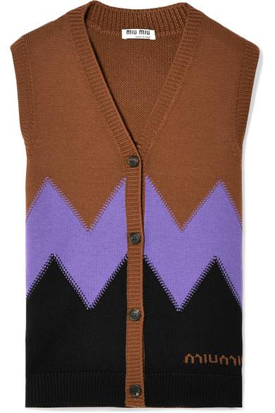 Miu Miu Weste aus Wolle mit Intarsienmotiv