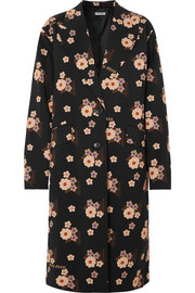 Floral-print wool and mohair-blend coat