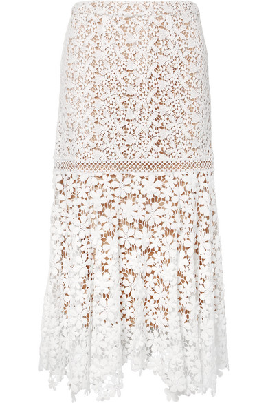 Guipure Lace Midi Skirt by Michael Michael Kors