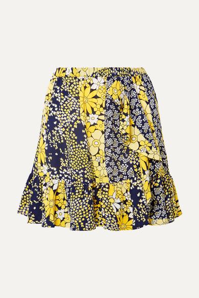 MICHAEL MICHAEL KORS Ruffled floral-print chiffon mini skirt