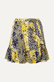 Ruffled floral-print chiffon mini skirt
