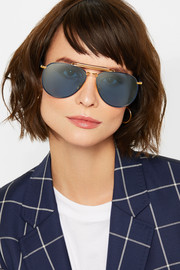 Aviator-style gold-tone, enamel and acetate sunglasses