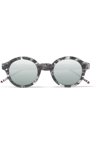 6f1299937e18 Thom Browne. Round-frame tortoiseshell acetate mirrored sunglasses