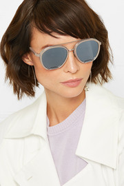 Aviator-style silver-tone and acetate mirrored sunglasses